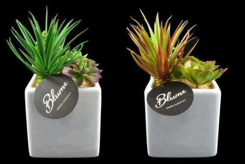 Artificial Succulents Pot Home Office Garden Decoration Green Plant 12 x 23cm