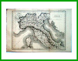 1888-stampa-incisione-Geografia-Cartina-ITALIA-SETTENTRIONALE-NORD-Tav-336-7