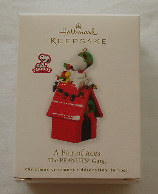 Hallmark 2010 Snoopy Woodstock Red Baron Peanuts Christmas Ornament