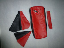 1997-2004 C5 Corvette 4 piece Boot Kit in Synthetic Leather Black and torch Red