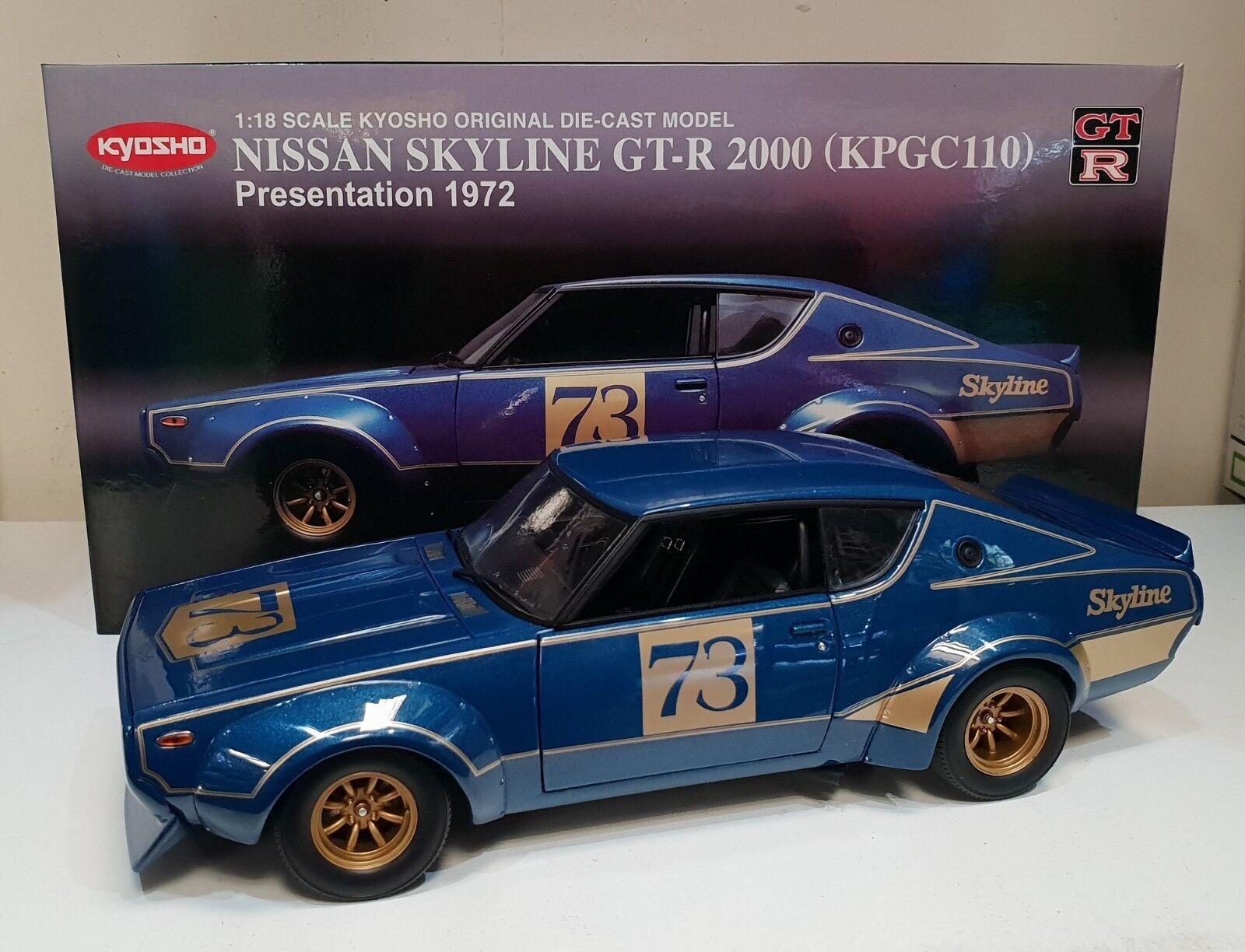 1 18 Scale Kyosho Nissan Skyline GT-R 2000 (KPGC110) Metallic bleu  73
