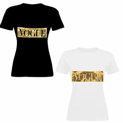 "Ladies Women /""Vogue/"" Slogan Printed Gold Rainbow Foil Print T-Shirt Tee Tops"