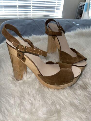 Zara Platform Block Heel Clogs Leather Sandals