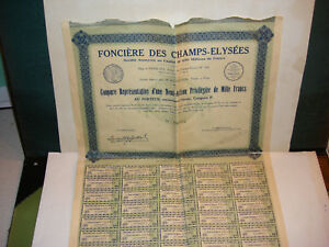 Action Obligation Fonciere Des Champs Elysees 1/2 Action1929 Cat P Wu0kaubp-07223424-714543595