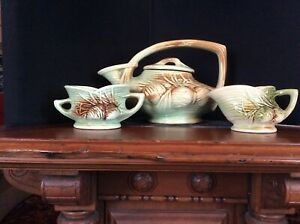 McCoy-Tea-Set-1946-Pine-Cone-Made-in-USA-GIFTS-Pottery