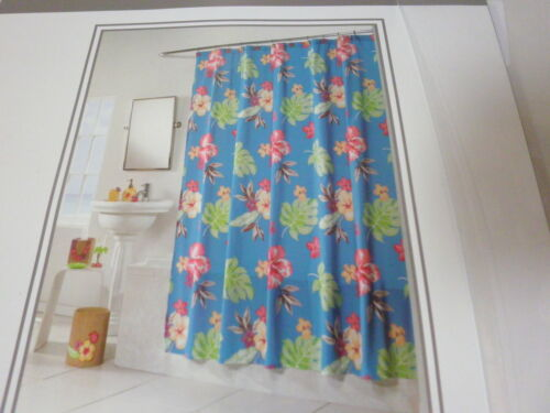 NEW BALTIC LINEN Fabric BLUE SHOWER CURTAIN KIKI FLORAL Flower LEAF NIP