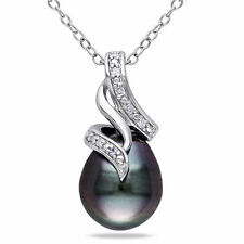 Amour Silver Tahitian Pearl and Diamond Drop Necklace (9-9.5 mm)
