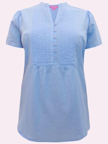 Femme Within NEUF bleu ciel Pintuck à manches courtes Chemisier Tailles 18//20 à 38//40