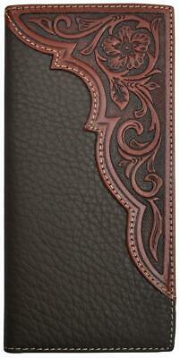 3D Western Mens Wallet Rodeo Leather Floral Tooled Overlay Brown DW2003