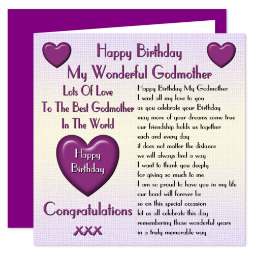 3 Of 4 My Godmother Lots Love Happy Birthday Card