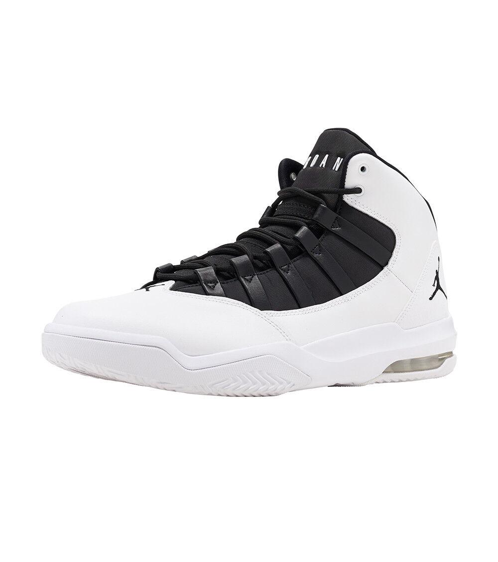 Jordan MAX AURA Mens White Black-Black AQ9084-100 Lace Up Basketball shoes