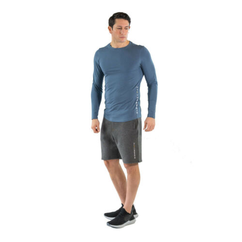 Higher State Mens LS Training Gym Fitness Top Blue Sports Running Breathable