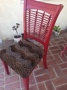 Details About Hand Decorated And Painted Wooden Chair With Leopard Print Seat