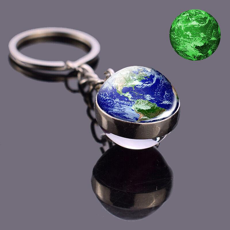 New Luminous Key Chain Planet Globe Key Pendant Glass Globe