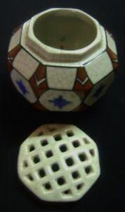 ANCIEN-PIQUE-FLEURS-FAIENCE-POLYCHROME-ART-DECO-WASMUEL-AMC-BELGIQUE-1930-D962