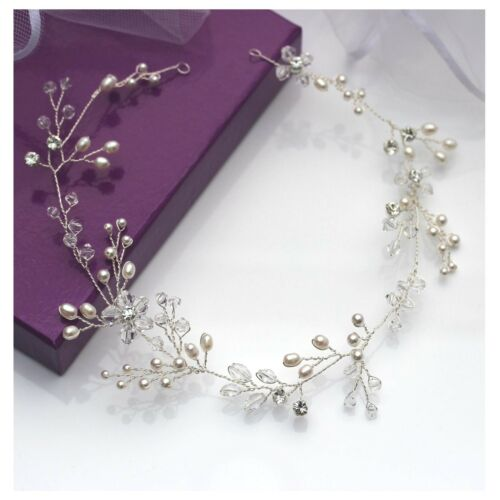 Wedding Hair Accessory Silver or Gold Flexible Vine for Front or Back UK Made