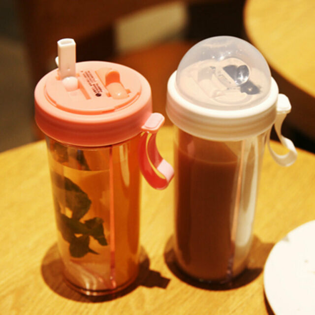 AM/_ ROMANTIC PORTABLE DUAL STRAW SEPARATE DRINK WATER BEVERAGE BOTTLE COUPLES GI