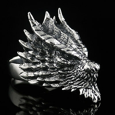 DRAGON RING MENS 925 SOLID STERLING SILVER HAND HUGE HEAVY ROCK CHUNKY MASSIVE