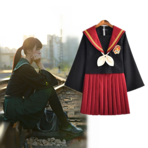 Women JK Japanese Sailor High School Uniform Suit Skirt Cosplay Costume Outfit