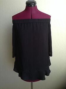 NWT-REBECCA-TAYLOR-250-SILK-Off-the-Shoulder-Tie-Bow-Back-Blouse-Sz-12