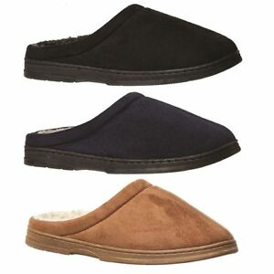 Mens-Slippers-Grosby-Tobias-BLACK-NAVY-CAMEL-Slipper-Scuffs-Woolly-Size-S-M-L-XL