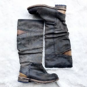 Anthropologie-Felmini-Riding-Boots-Gray-Brown-Pull-On-Mid-Calf-Slouch-37-Leather