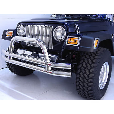1976-2006 Jeep Wrangler Stainless Steel Tube Front Bumper with Center Hoop