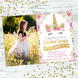 UNICORN-BIRTHDAY-PARTY-GOLD-GLITTER-PHOTO-PERSONALISED-INVITATION-INVITES-FLORAL