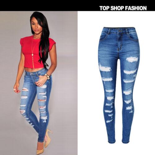 UK Women Ripped Denim High Waist Hollow Lace Jeans Crochet Trousers Pencil pants