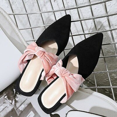 Bowknot Pointy Toe Womens Suede Sandals Black Chic Shoes Mules Fashion Slippers