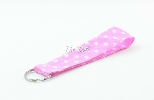 Fabric Lanyard for ID badge keys in pink dots fabric