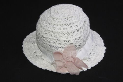 Elegant Girly Soft Crochet White Lace Textile Hat w Nude Pink Flower S 332