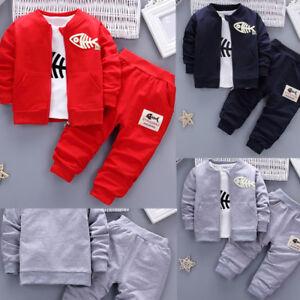 3-pzas-Infantil-Bebe-Nino-Ropa-Trajes-peces-Sueter-Camiseta-Pantalones-largos