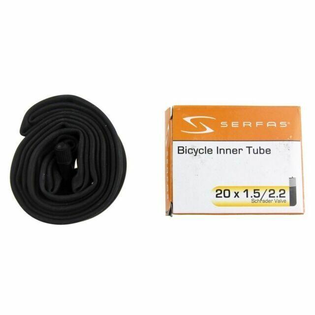 2 Pack Serfas 20x1.5//2.2 Bicycle Inner Tube-32mm Schrader Valve-Durable-2 Tubes