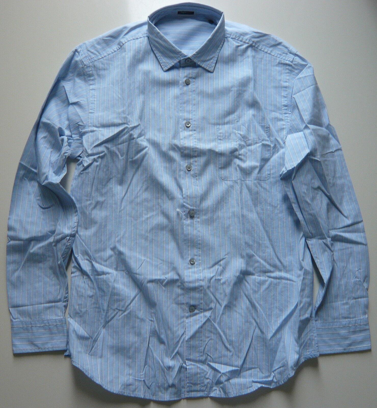 Zegna Sport Hemd Gr. XXL Baumwolle blau weiß grau gestreift Freizeit Geschäft
