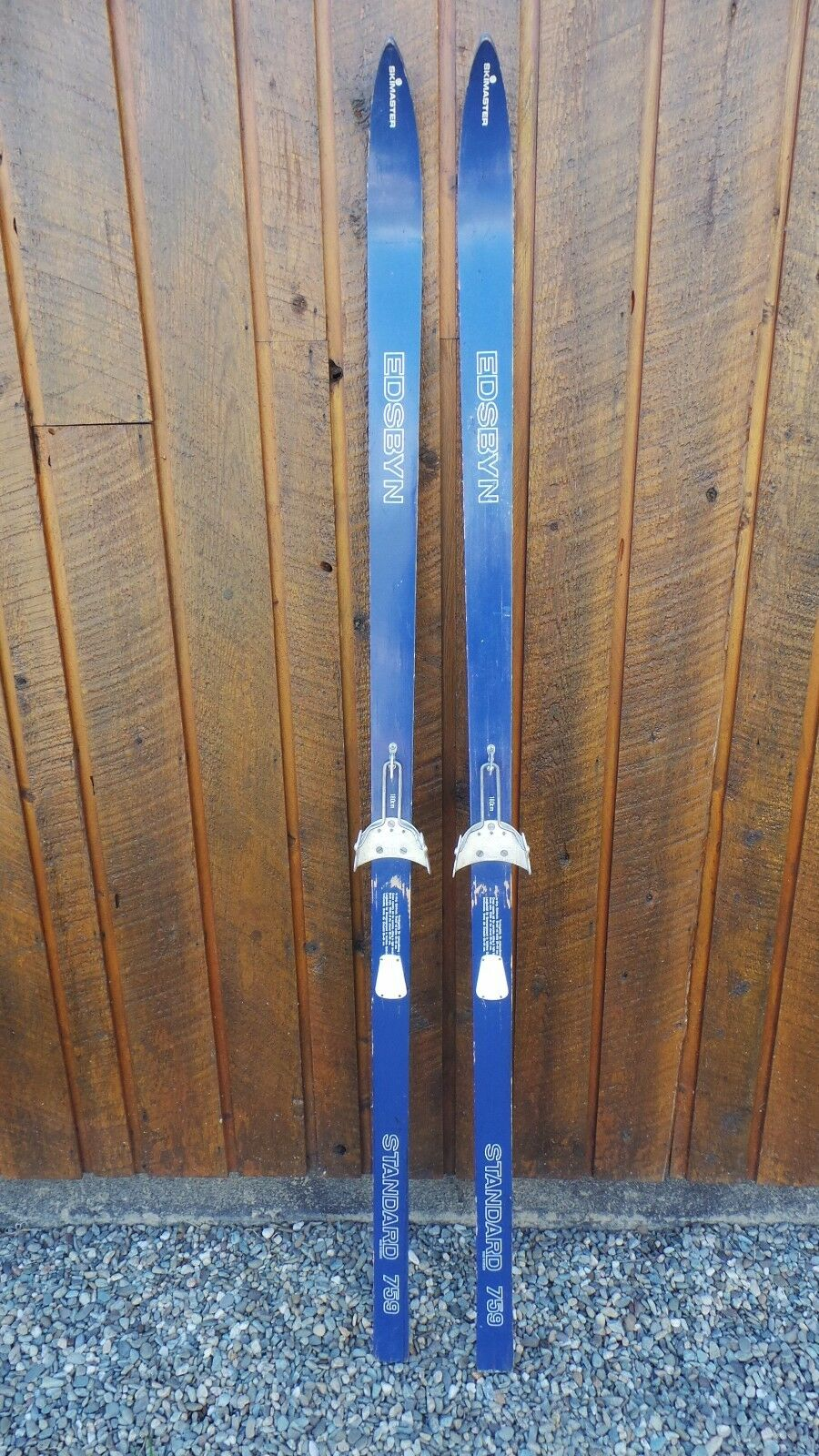 VINTAGE 71  Wooden Skis blueE Finish  with Metal Bindings Signed EDSBYN