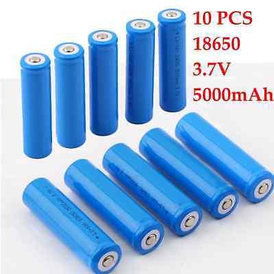 10PCS 18650 Li-ion 5000mAh 3.7V Rechargeable Battery for LED Torch Flashlight P5