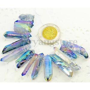 10-15pcs-Rainbow-Titanium-Coating-Aura-Lemurian-Seed-Quartz-Crystal-Pendant