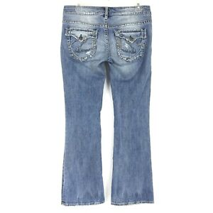 2b056742 Silver Jeans Women's PIONEER Low Rise Boot Cut Distressed Size 28 X ...