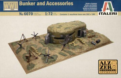 Italeri 1//72 Zweiter Weltkrieg Bunker und Zubehör #6070