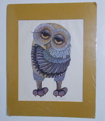 Glenn Heath Owl Print Big Eyes Vintage Mid Century Matted Picture 852