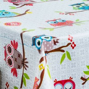 Grey Owls and Red Hearts PVC Vinyl Wipeable Tablecloth