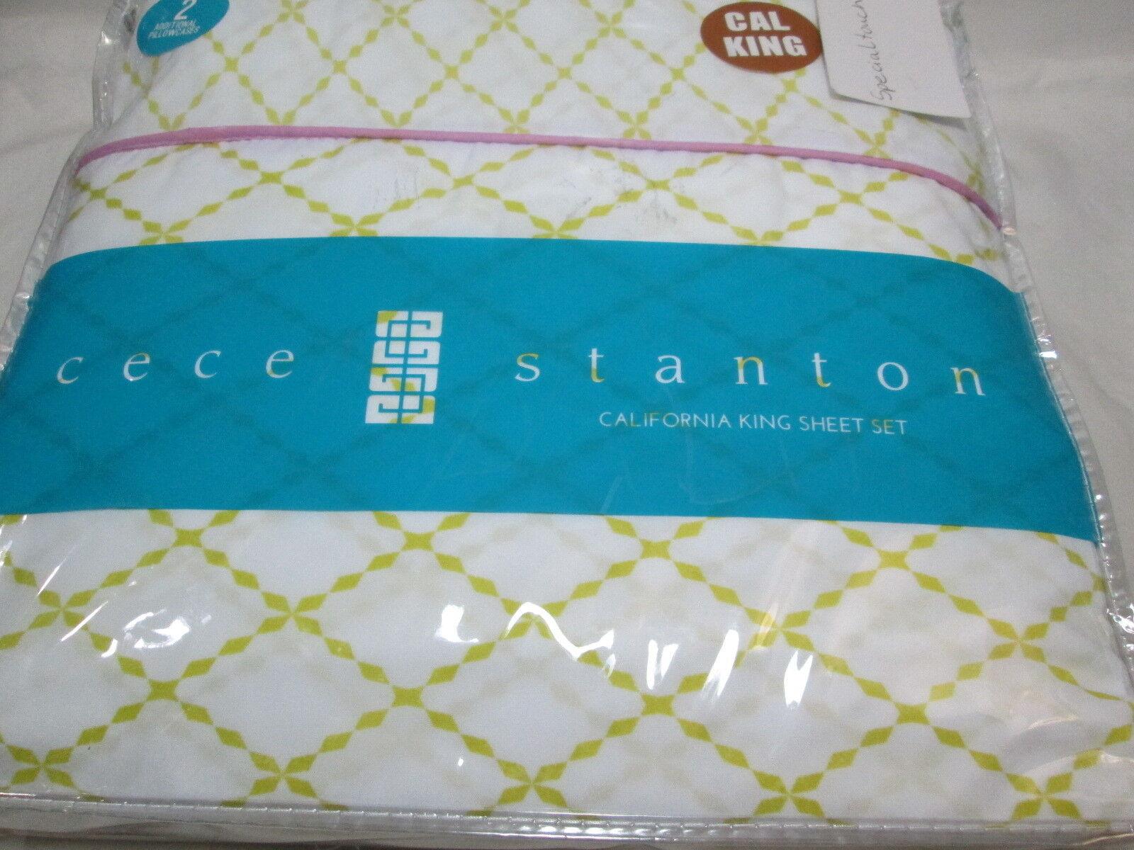 6 pcs Cece Stanton MORGAN Cal California King Microfiber Sheet Set - Lime White