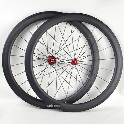 700C Road Carbon Wheelset 50mm Clincher Wheels Straight Pull Powerway R36 Hub