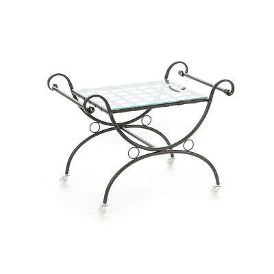 Tavolino struttura in ferro piano in vetro 80x53xh60cm arredo giardino 06153