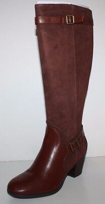 GH Bass NIB Women 7.5 8 8.5 9 10 Noreen Brown Suede Leather Boots w/ Heel