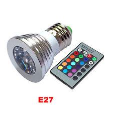 3W E27 RGB LED Flash 16 Colors Spotlight Bulb+24 Remote Control Change Light