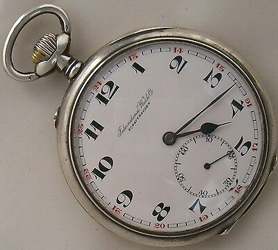 International Watch Co. Pocket Watch open face Silver case 52 mm. in diameter