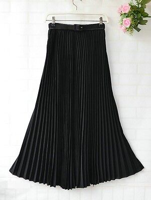 Ladies Chiffon Pleated Maxi Long Elastic WaistBand Belt Skirt Dress One size New