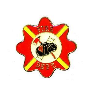 Fire Dept Lapel Pin Red Ladder Hat Ax Cap Tac Promotion